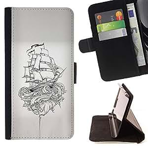 Momo Phone Case / Flip Funda de Cuero Case Cover - Barco pirata Kraken Monster Mito - LG G3