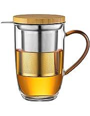 ecooe 440 ml glazen theekopje borosilicaattheebeker theeglas met ultrafijn 18/10 roestvrijstalen zeef, natuurlijk bamboedeksel, verdikte glas, kop voor koffie, sap, koolzuurhoudende dranken, melk, yoghurt