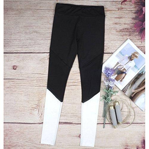 Gazechimp Pantalones Deportivos de Mujeres Polainas de Yoga de Cintura Alta de Deportes Pantalones Elásticos de Malla blanco
