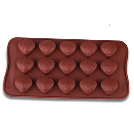 Ruiting Moldes de Pastel, Torta Silicona 15 cavidad 3D Conchas con Color Chocolate Fondant Molde