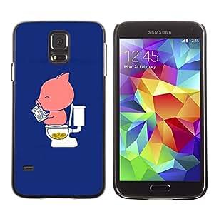 FECELL CITY // Duro Aluminio Pegatina PC Caso decorativo Funda Carcasa de Protección para Samsung Galaxy S5 SM-G900 // Cartoon Funny Blue Pink Minimalist