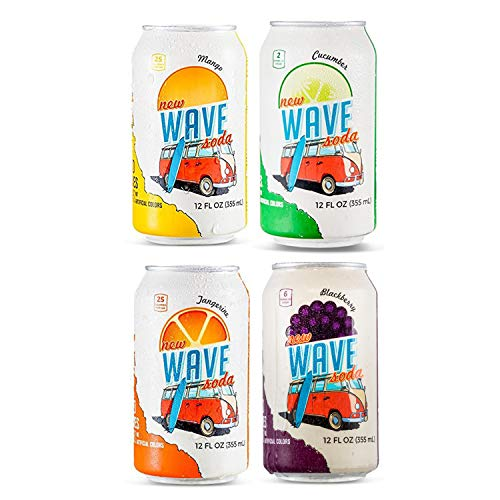 Wave Soda Sparkling Juice, 4 Flavor Variety Pack, Pack of 24, 12 Ounce Cans; 6 Mango, 6 Tangerine, 6 Cucumber and 6 -
