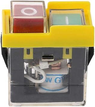 KJD6 AC 250 V 6 A Impermeable Electromagnético Pulsador Interruptor Eléctrico Herramienta de encendido apagado Botón Interruptores para Máquina Sierra Cortador Taladro VDE, 2 unidades: Amazon.es: Bricolaje y herramientas