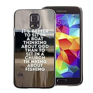 A-type Arte & diseño plástico duro Fundas Cover Cubre Hard Case Cover para Samsung Galaxy S5 (Fishing Seaman God Christian Hobby Fun)