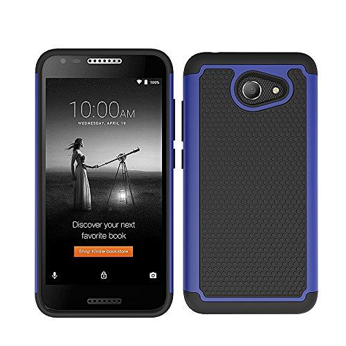 Alcatel A30 Case, Alcatel Kora Case, Alcatel Zip LTE A577VL A576BL Case, Telegaming Dual Layer Armor Case Drop Protection Shock Absorption TPU & Hard PC Back Cover For Alcatel A30 Blue