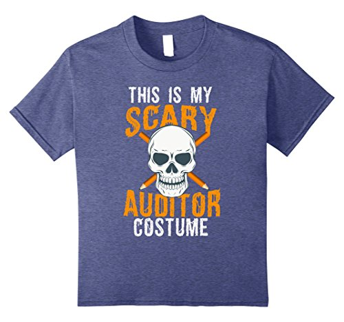 Kids Funny Scary Auditor costume Tee shirt for Halloween 2017 8 Heather Blue