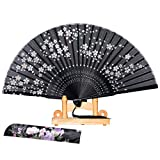 BABEYOND Japanese Floral Folding Hand Fan Vintage Handheld Folding Fan with Fan Stand Fabric Folding Fan for Wedding Dancing Party (Japanese flower with fan stand-Black)