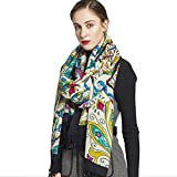 DANA XU 100% Pure Wool Women Winter Large Scarf Pashmina (Black&Green)