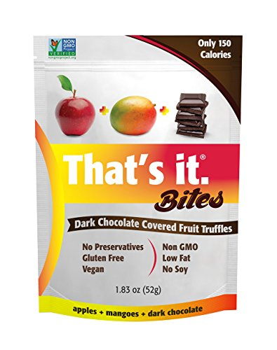 Apple + Mango That's It. Fruit Bites | Dark Chocolate Covered Fruit Truffles | 100% Natural Great Tasting Real Fruit | Vegan, Gluten Free, Paleo, Kosher, Non GMO, No Preservatives | 6 Pouches