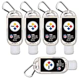 $2.00 OFF Pittsburgh Steelers Hand Sanitizer with Clip, 5-Pack. Moisturizers Aloe Vera and Vitamin E. (1.5 oz Containers) NFL Football Gear for Men and Women, Stocking Stuffers