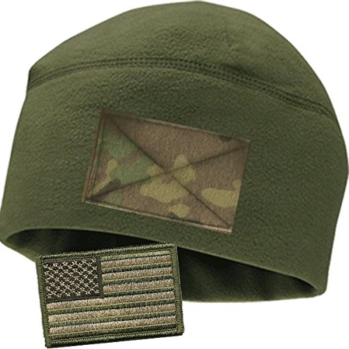 Olive Fleece Watchcap with Camo Velcro Loop by Gadsden and Culpeper