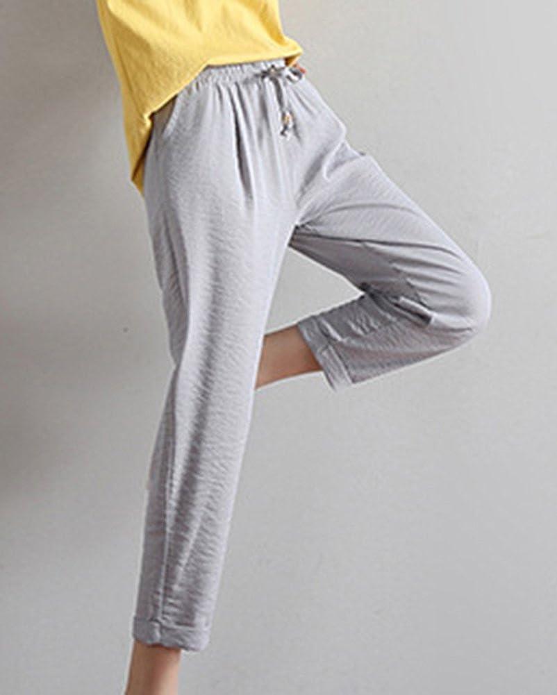 Cordon Pantalon Été Léger Élastique Femme Tissu Laozana Taille En Avec 76fgvbymIY