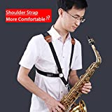 #10: Jiuxun Saxophone Strap Adjustable Harness of Double Shoulder for Tenor Alto Saxophone With Snap Hook (Small-sized for 49in-55in)