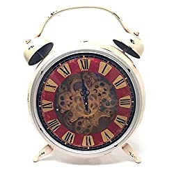 Royal Brands Large Decorative Tabletop Desk Clock Retro Desk Clock Vintage Clock Roman Large Numerals Desk Clock Easy to Read White