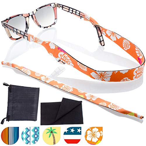 Sunglass and Glasses Sport Strap - 2pk Active Eyewear Retainer with Bonus Items (Honolulu)