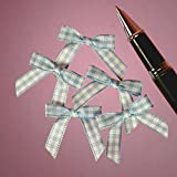 Mini Blue and White Gingham Checkered Bows - 25 Pack