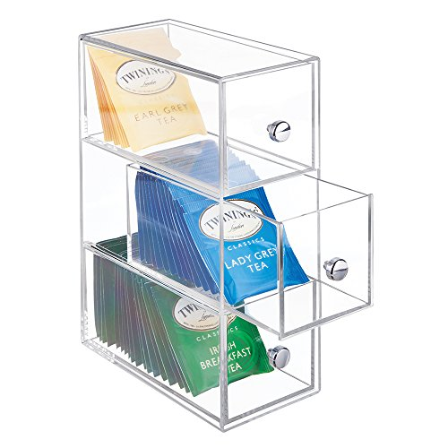 Tea Holder (mDesign Kitchen Pantry, Cabinet, Countertop Plastic Organizer Storage Station with 3 Drawers for Coffee, Tea, Sugar Packets, Sweeteners, Creamers, Drink Pods, Packets - Clear)