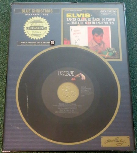 BN Elvis Presley Framed Blue Christmas RIAA CERTIFIED GOLD RECORD #25 of 90 by Platinum Plaques (Riaa Record)