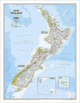 New Zealand On The Map.National Geographic New Zealand Classic Wall Map Laminated 23 5