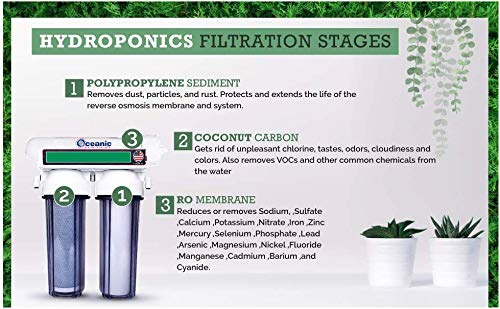 ❥ 3 Stage - Hydroponics Reverse Osmosis Water Filtration System | 75 GPD | Plant Growth Hydroponic System 2