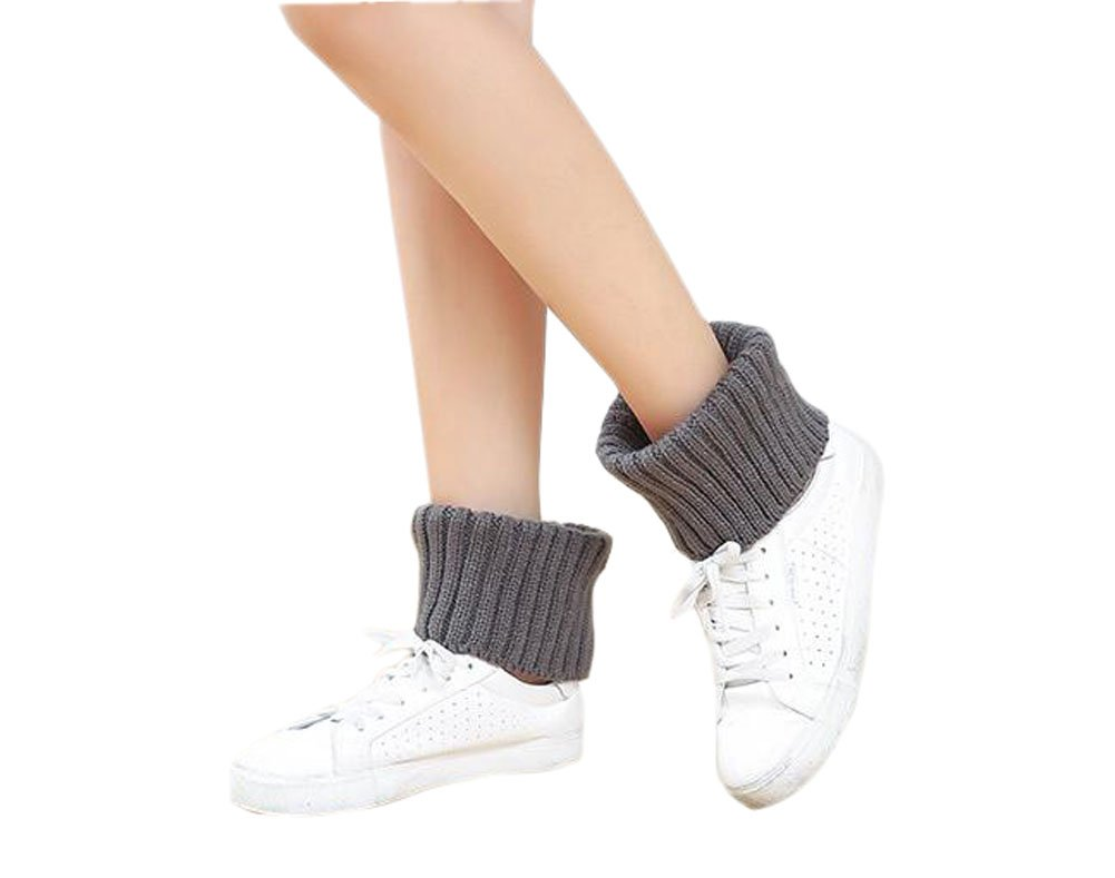 Furnido Women Knitted Short Leg Warmers Winter Ankle Warmers Boot Cuffs Cover Socks