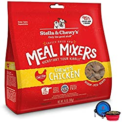 Stella & Chewy's Freeze Dried Dog Food,Snacks Super Meal Mixers 18-ounce Bag With Hot Spot Pets Food Bowl - Made in USA (Chicken)