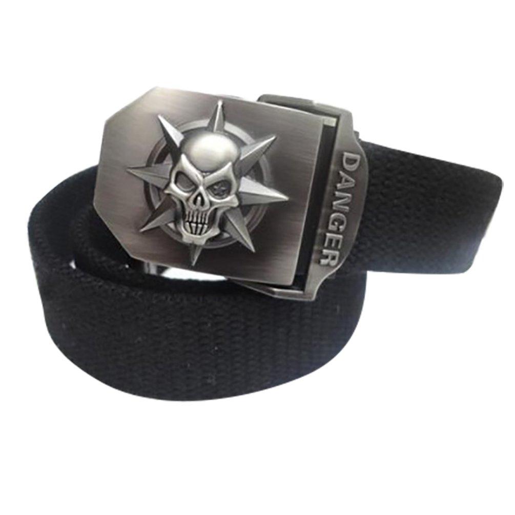 NiSeng Hombre Militar T/áctica Cintur/ón Deslizante Hebilla Ajustable Pretina Con Cr/áneo