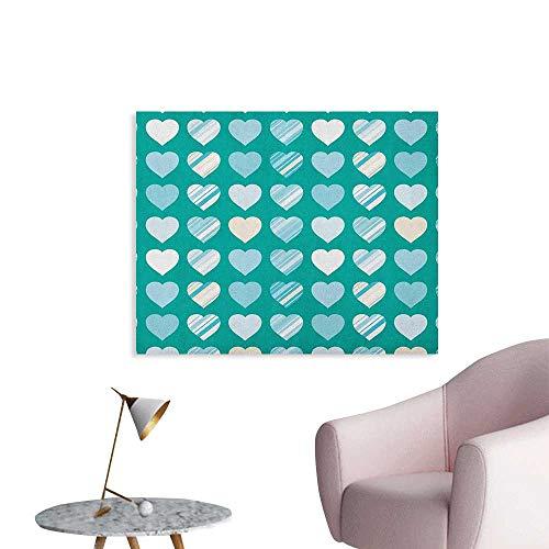 Romance Wall Sticker Decals Heart Figures Love Valentines Famous Symbol Universal Symbol Design Art Poster Jade Green Seafoam Cream W36 xL32