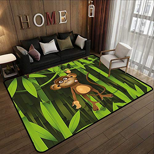 Bath Rugs,Jungle Decor,Wildlife Theme Illustration of a Cute Monkey in The Jungle Print,Brown and Fern Green 78.7