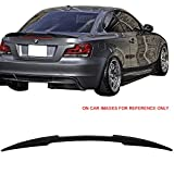 Pre-Painted Trunk Spoiler Fits 2007-2013 BMW E82 1 Series | M4 Style Painted #475 Black Sapphire Metallic ABS Rear Tail Wing Other Color Available By IKON MOTORSPORTS | 2008 2009 2010 2011 2012