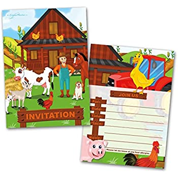 amazon com birthdayexpress farm animal party supplies invitations