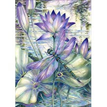 DIY 5D Diamond Painting by Number Kits Full Drill Rhinestone Embroidery Cross Stitch Pictures Arts Craft for Home Wall Decor,Lotus Dragonfly-12x16In