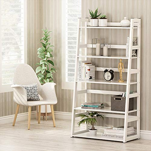 Tribesigns 5-Tier Bookshelf Modern Bookcase, Freestanding Leaning Ladder Shelf, Ample Storage Space for CD, Books, Home Decor (White) by Tribesigns (Image #1)