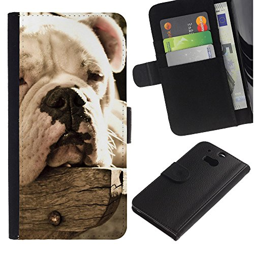 OMEGA Case / HTC One M8 / bulldog sleepy dog vignette summer / Cuero PU Delgado caso Billetera cubierta Shell Armor Funda Case Cover Wallet Credit Card