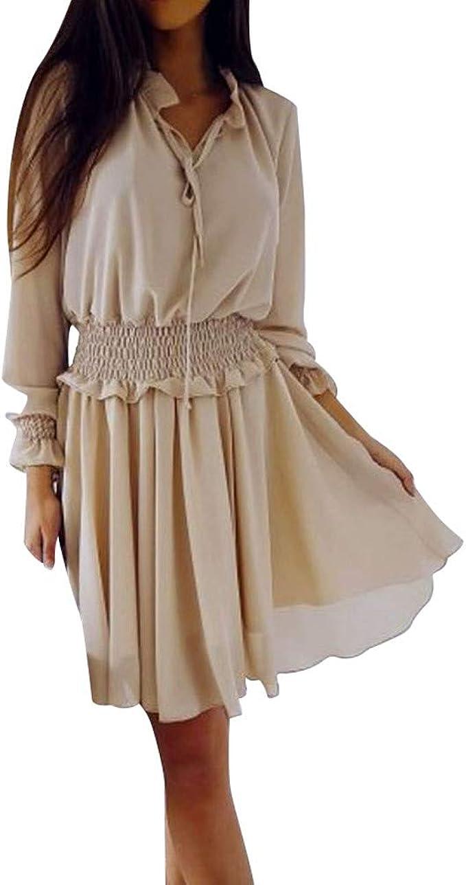 NPRADLA Freizeitkleid Rockabilly Kleider Damen Frauen V-Ausschnitt