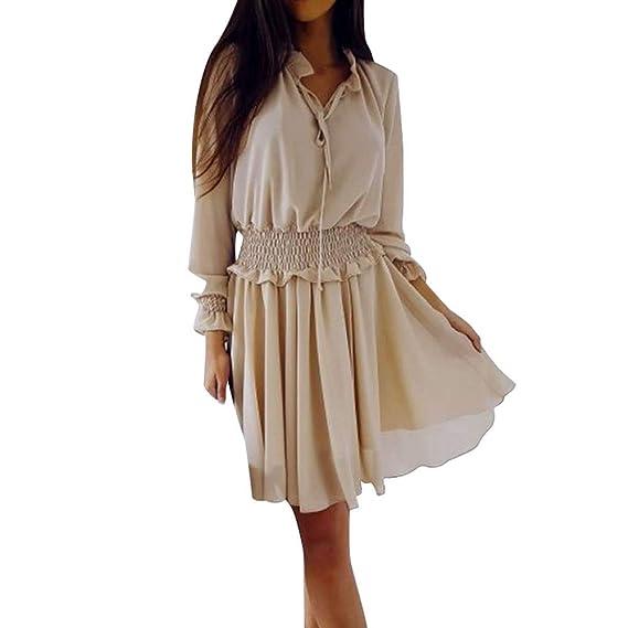 dc0c74e5f0c NPRADLA Freizeitkleid Rockabilly Kleider Damen Frauen V-Ausschnitt  Einfarbig Rüschen Schlanke Taille Mini Kleid Urlaub Party Kleider   Amazon.de  Bekleidung