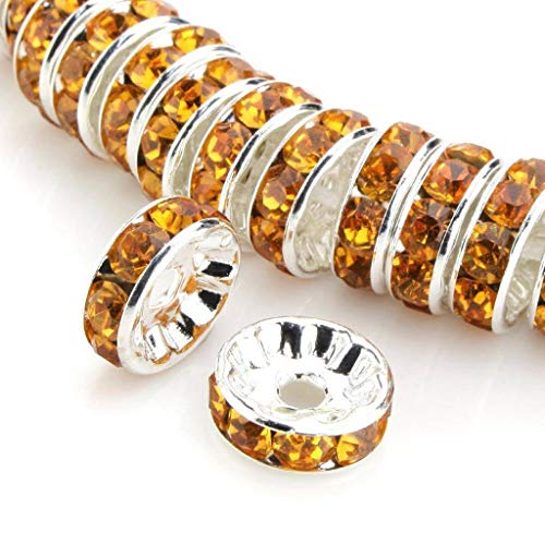 - 100pcs Best Quality Rondelle Spacer Beads 8mm Topaz yellow Top Quality Austrian Crystal Rhinestone Spacers Sterling Silver Plated CF3-807