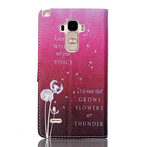 LG G Stylo Funda, LG G4Stylus, LG LS770Case, ikasus hermoso patrón Arte de Pintura de piel sintética Fold Funda Premium–Funda de piel con tapa con soporte Soportes de ID de tarjeta de crédito fund Pink Dandelion