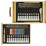 US Art Supply 62-Piece Wood Box Easel Painting