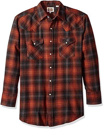 Ely & Walker Men's Long Sleeve Brawny Flannel Shirt, Rust, Large