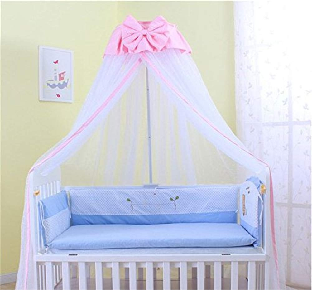 Baby Mosquito Net,Kids Bed Canopy, 50D Polyester Yarn, with Stand, Five-Speed Adjustment Height ,Dome Canopy Netting Bed Canopy (Pink) by WXH (Image #5)