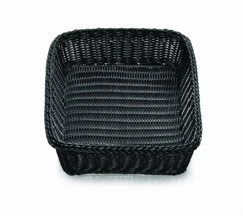 TableCraft Products M2493H Basket with Handle, Rectangle, 19'' x 14'' x 4'', Black (Pack of 6) by Tablecraft