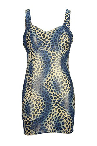 OE2-12 Women's Elegant Animal Print Cocktail Dress Size S - Navy (Short Animal Print Dress)