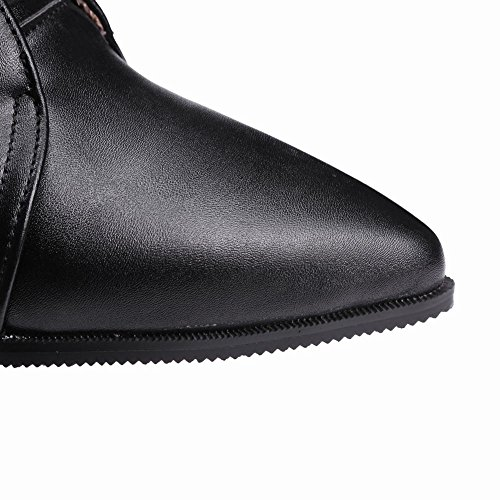 Lace Mee Boots up Ankle Pointed high toe Block heel Womens Black Shoes nr0vrqTY