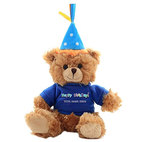Boy Teddy Bear Ornament - Plushland Plush Teddy Bear 6 Inches - Mocha Color for Birthday, Personalized Text, Name on T-Shirt, Party Favors Gift for Kids, Boys, Girls (Blue Birthday Hat)