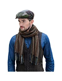 Mens Wool Scarf, Handwoven in Ireland, Traditional Fishermans Scarf, Brown
