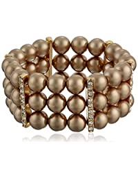 Simulated Pearl and Crystal Triple-Row Bracelet, 7""