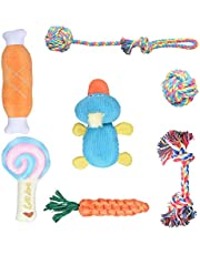 Oziral Puppy Toys, [7 Pack] Braided Small Dog Toys Set, Cute Duck Plush Squeaky Toys for Puppies Teeth Cleaning, 100% Natural Cotton Interactive Ropes Chew Toys for Puppy Playing, Non-Toxic and Safe