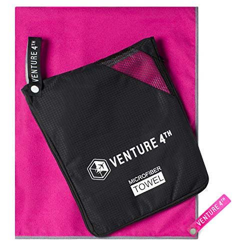 (VENTURE 4TH Quick Dry Microfiber Towel - Odor Resistant, High Performance Towels for Gym, Camping, Travel, Yoga and Beach (Pink-Gray Extra Large) - Includes Tear Resistant Bag)