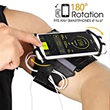 Running Armband Phone Holder, 180°Rotatable with Key & Earbuds Holder Phone Armband for Hiking Biking Walking for iPhone X/8 Plus/8/7 Plus/6 Plus/6, Galaxy S8/S8 Plus/S7 Edge Note 8 5 - Black